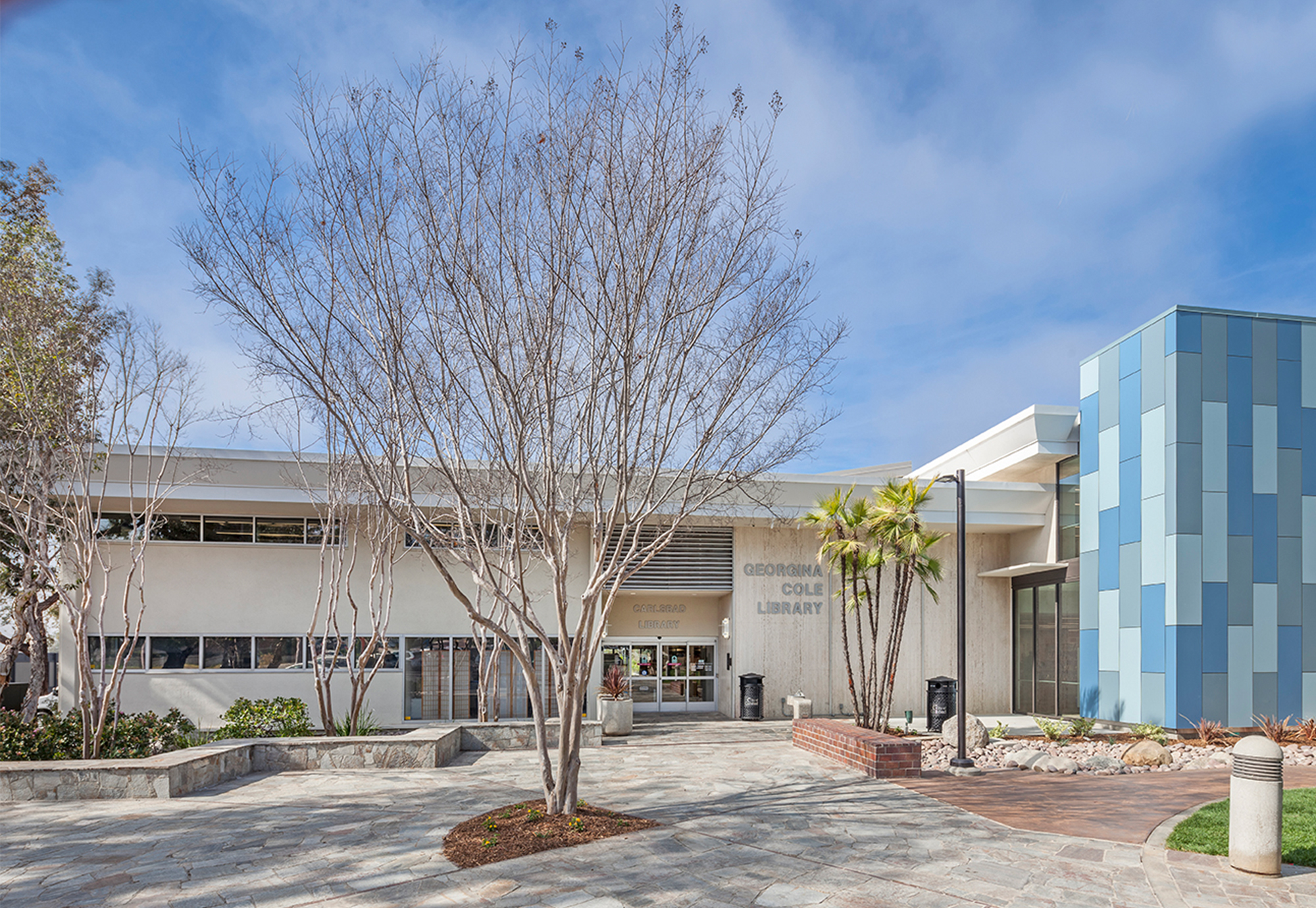 Carlsbad Cole Library exterior plaza approach